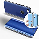 COTDINFOR iPhone 6S + Funda Espejo Ultra Slim Ligero Flip Funda Clear View Standing Cover Mirror PC + PU Cover Protectora Bumper Case para iPhone 6S Plus / 6 + Blue Mirror PU MX.