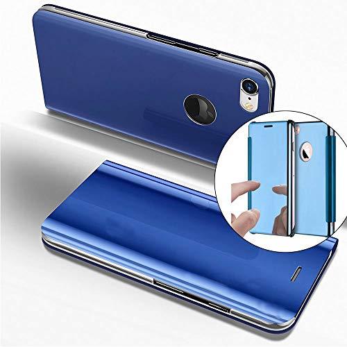 COTDINFOR iPhone 6S Funda Espejo Ultra Slim Ligero Flip Funda Clear View Standing Cover Mirror PC + PU Cover Protectora Bumper Case para iPhone 6S / 6 Blue Mirror PU MX.