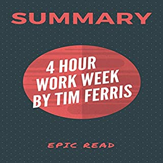 Summary: The 4-Hour Workweek by Tim Ferris                   By:                                                                                                                                 Epicread,                                                                                        Tim Ferris                               Narrated by:                                                                                                                                 William Bahl                      Length: 1 hr and 12 mins     45 ratings     Overall 4.2