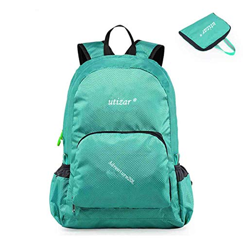 Utizar Lightweight Folding Backpack Gym Bag Foldable Day Backpack Outdoor Bag Travelling Backpack Camping Sports Backpack Shopping Ultra-light Backpack Small Urban Backpack (Light Green)