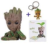 Baby Groot Maceta Figura de acción con forma de maceta y lápiz para...