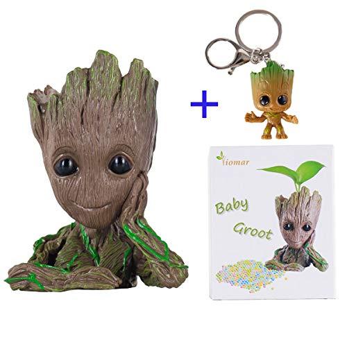 Baby Groot Maceta Figura de acción con forma de maceta y lápiz para niños Figuras de la olla de Galaxy Modelo de bebé lindo Juguete Pen Pot