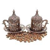 Set di 2 tazzine da caffè turco greco, arabo, marocchino, set da 8 pezzi, con supporto interno in porcellana e coperchio in metallo, ottima idea regalo (rame)