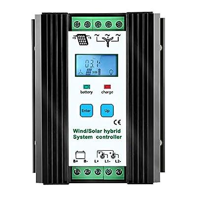 iSunergy 1000W Wind Solar Hybrid Charge Controller Wind Boost Charge Solar PWM Charging Technology Digital Intelligent Regulator with LCD Display (600W Wind + 400W Solar)