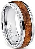 Ultimate Metals Co. Dome Herren Titan Ehering,Titan Verlobungsring Mit Echtholzeinlage 8mm Bequemlichkeit Passen,Größe 54