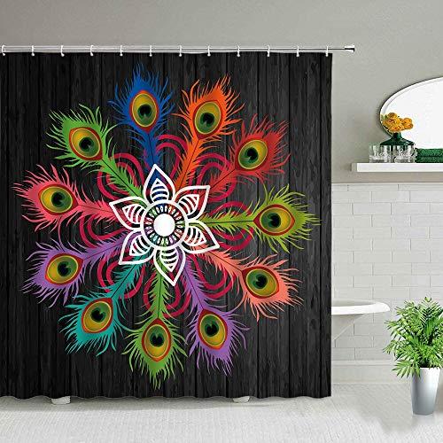 XCBN Cortinas de Ducha de Flores de Mandala pintadas a Mano en Blanco y Negro Bohemio, Juego de Cortinas de baño geométricas Impermeables, decoración artística A21, 90x180cm