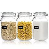 Chefstory 50oz Airtight Glass Jars with Lids, 3 PCS Food Storage Canister for Kitchen & Pantry Organization and Storage, Square Mason Jar Containers for Storing Sugar, Flour, Cereal,Coffee,Cookies