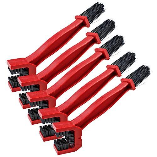 Coolty 5 Stück Motorrad-Kettenreinigungsbürste, Fahrrad Radfahren Kette Kurbelgarnitur Pinsel, Bike Gear Reinigungsbürste Werkzeug (Rot)