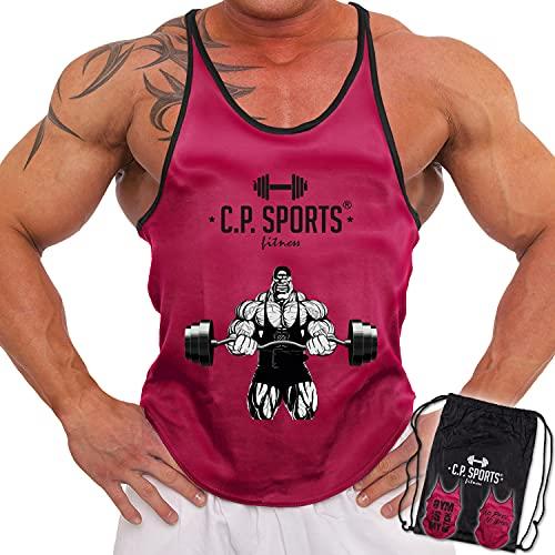 C.P. Sports 3 Stringer Tank Top in sacca da palestra – Maglia per bodybuilding, sollevamento pesi, fitness, palestra, 3 motivi per sacchetto, rosa neon, M