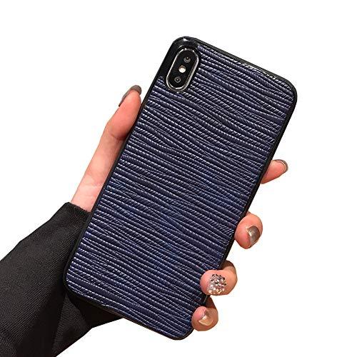 Funda de piel con patrón de piel de serpiente para iPhone XS Max de lujo vintage elegante cubierta delgada suave y flexible trasera protectora (iPhone XS Max 6.5 pulgadas, azul)