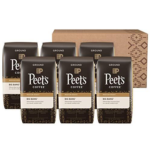 Peet's Coffee Big Bang, Medium Roast Ground Coffee, 63 oz (Pack of 6 - 10.5 oz bags)