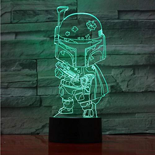 Creative 3D Phantom Night Light LED Masked Cartoon Character Model Home Decoration Night Light Living Room Bedroom 7 Colors Adjustable Color