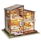 HE TUI DIY Hechos a Mano de Madera casa de Juguete en Miniatura Villa Suite con Cubierta de Polvo Mini Coche Privado Chica Regalo colección de decoración