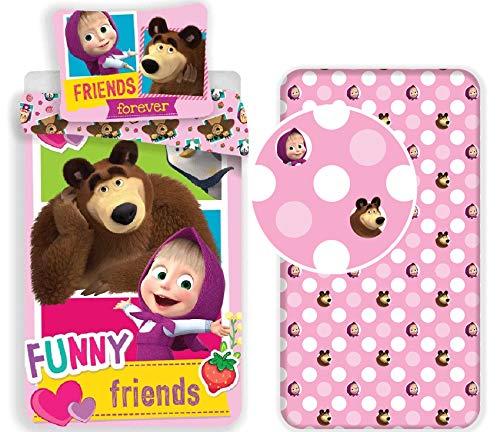 Juego de ropa de cama individual infantil de algodón con funda nórdica, funda de almohada y sábana bajera ajustable, diseño de Masha y el oso