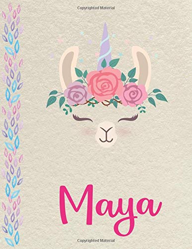 Maya: Personalized Llama SketchBook for girls, great gifts for kids. Large sketch book with pink Name for drawing, sketching, Doodling or learning to draw (sketch books for kids 8.5x11 110 pages )