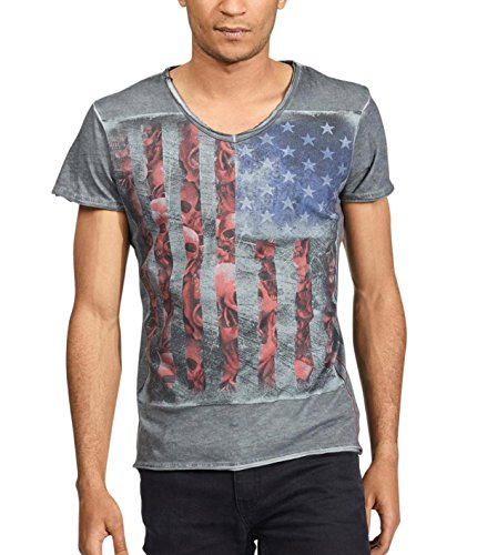 trueprodigy Casual Herren Marken T-Shirt Aufdruck Oberteil Cool Stylisch V-Ausschnitt Kurzarm Slim Fit Shirt Männer Bedruckt, Farben:Anthrazite, Größe:M