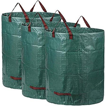 AIXMEET Sacs de Jardin 3x300L, Sacs à Déchets de Jardin Résistants, étanche Heavy Duty Grande Sacs avec Poignées, Pliable et Réutilisable