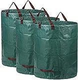 (3x300L) Sacos de jardín, Bolsas de jardín Premiums, Resistentes al Agua, Grandes Bolsas de Basura con Asas, Plegables y Reutilizables, de Gran Capacidad y Doble Fondo ,Estables a los Rayos UV