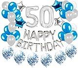 36 STÜCKE JeVenis Silber Blau 50. Geburtstag Dekorationen Party Supplies 50 Geburtstag Luftballons...