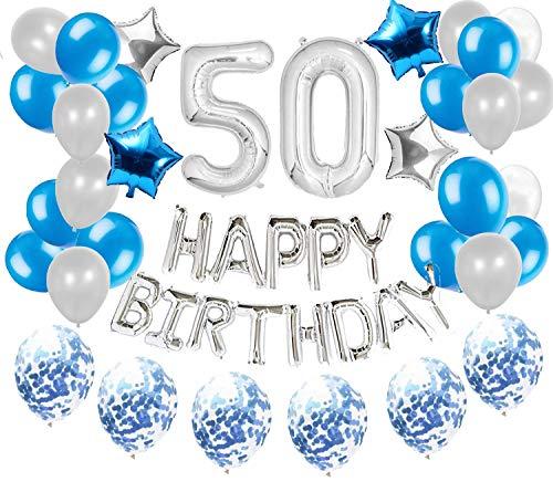50 Happy Birthday Balloon Decorations Set. 36pcs Silver and Blue