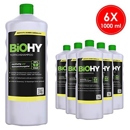 BIOHY tapijtshampoo concentraat, 6-delige set (6 x 1 l) – shampoo voor tapijt en waszuigers/tapijtreiniger voor het verwijderen van hardnekkige vlekken en geuren