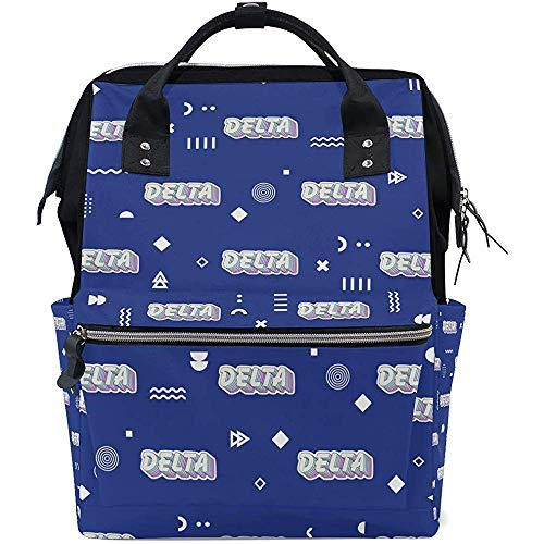 Diaper Bag Delta Letters Backpack for Mom/Dad,Wide Open Multi-Function Travel Backpack Nappy Bags