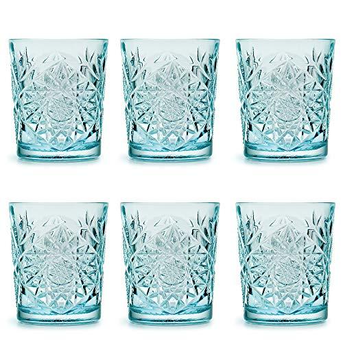 Vaso Hobstar Sky Blue de Libbey / – 355 ml/35,5 cl - 6 unidades – diseño vintage – apto para el lavavajillas
