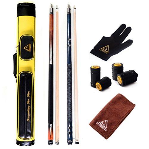 CUESOUL Combo Set Bar Pool Cue Sticks - 2 Cue Sticks Verpackt in 2x2 Hart Pool Cue-Fall(CS-R209-E205-E103)