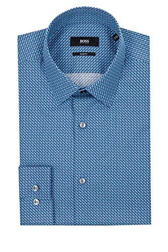 Hugo Boss Herren Hemd Popeline Oberhemd Blau 41