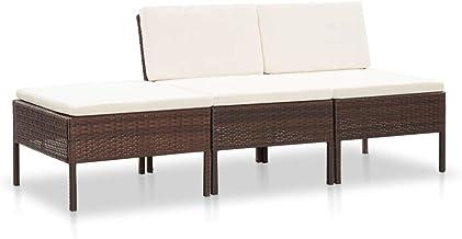 vidaXL 3 Piece Garden Lounge Set with Cushions Sectional Sofa Outdoor Patio Backyard Porch Terrace Furniture Wicker Seatin...