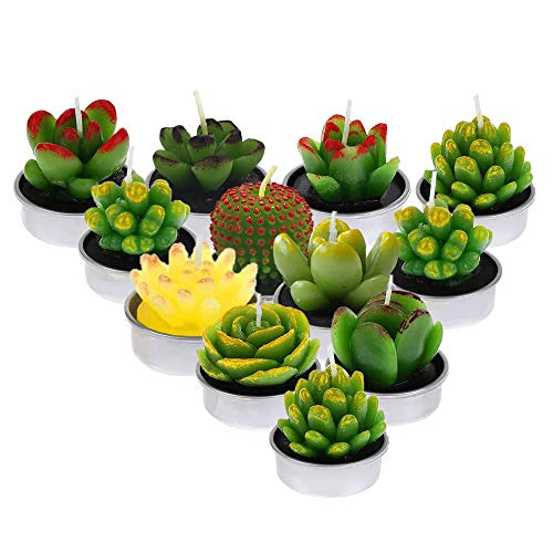 Ousuga Scented Candles 12 Pcs,Handmade Delicate Cactus Succulent Tealight Candles Gift Set for Home Decoration, Safety and Smokeless Cute Tea Light Yankee Candle for Birthday, Party Gifts