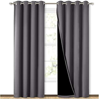 NICETOWN Grey Full Shade Curtain Panels, Pair of Energy Smart & Noise Blocking Out Blackout Drapes for Dining Room Window,...