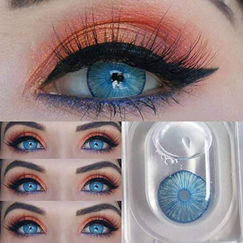Hochdeckende Kontaktlinsenfarbe, Kontaktlinse Behälter 2 Paar (4 Stück) Farbige Kontaktlinsen I DIA 14,20 I Keine Dicke I 0,00 Dioptrien - Monatslinsen (NEW YORK BLUE)