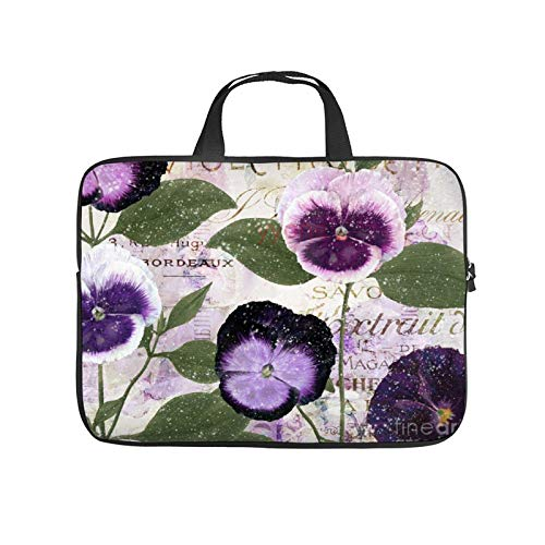 Neoprene Sleeve Laptop Handbag Case Cover January Purple Pansies Patchword Portable MacBook Laptop/Ultrabooks Case Bag Cover 17 Inch