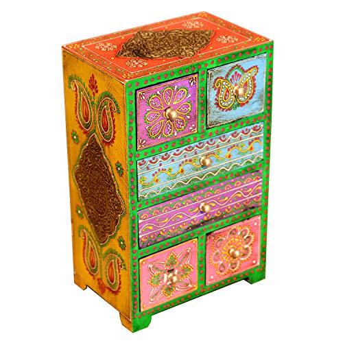 Casa Moro Orientalische Mini-Kommode handbemalte Holz-Kästchen Chandra mit 6 Schubladen bunt | 18x13x28 cm (B/T/H) | Die Originelle Geschenk-Idee für die Dame Freundin Frau Muttertag | MA28-10