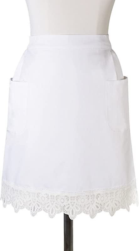 HOMCOS White Half Aprons Lace Victorian Maid Costume Craft Waist Aprons With Two Pockets