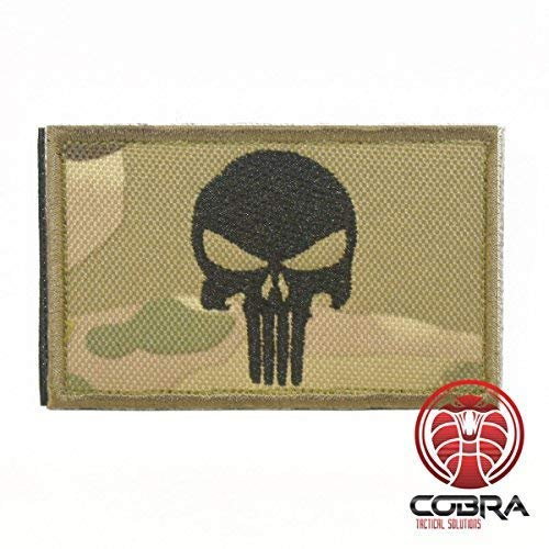 Cobra Tactical Solutions Punisher Totenkopf Digital Camo Military Besticktes Patch mit Klettverschluss für Airsoft Cosplay Paintball für Taktische Kleidung Rucksack (Camouflage)