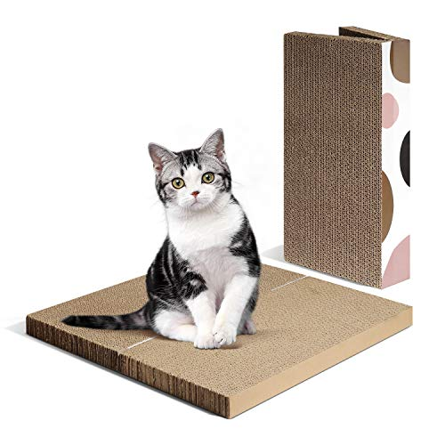 ComSaf Kratzbrett für Katzen, 2er-Set Katzen Spielzeug, Erweiterbares Kratzmöbel Wellpappe Kratzmatten, Recycelbar Kratzpad aus Qualitäts-Pappe, 40 x 20 x 6cm…