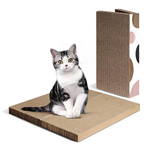 ComSaf Kratzbrett für Katzen, 2er-Set Katzen Spielzeug, Erweiterbares Kratzmöbel Wellpappe Kratzmatten, Recycelbar Kratzpad aus Qualitäts-Pappe, 40 x 20 x 6cm
