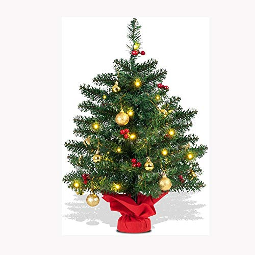 SPNEC DBFSX Table Top LED Lights Christmas Tree Includes 16 Ornamental Balls 12 Bunches of Berries Indoor Decorative Artificial Mini Xmas Trees