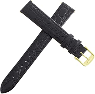 Women's 14mm Black Leather Replacement Watch Band Strap Gold Buckle