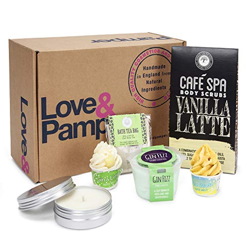 Bath Body Spa Pamper Gift Set - For Women, GIN & LIME Bath Melt and Pina Colada Bath Melt, Gin Fizz Body Exfoliating Mousse, GIN & LIME Candle and Relaxing Bath Tea Bag