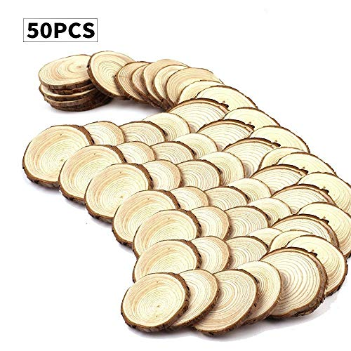 """Unfinished Natural Wood Circles with Tree Bark Log Discs 50pcs (2.4-2.8"""") for DIY Craft Christmas Rustic Wedding Ornaments and Personality Painting Coasters Ornaments (50Pcs)"""