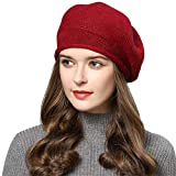 Superora Women Beret Hat French Wool Beret Beanie Cap Classic Rib Knit Solid Color Autumn Winter Hats Red
