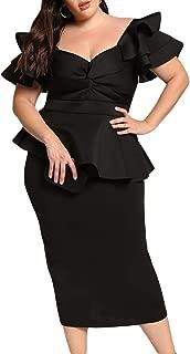Womens Plus Size Ruffle Sleeve Peplum Cocktail Evening Party Midi Dress