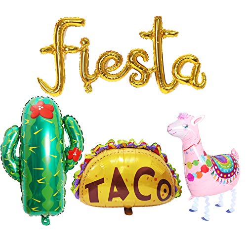 Globos de aluminio para fiesta mexicana, cactus, taco, llama, 4 unidades, Globos Jumbo Cinco De Mayo para fiestas mexicanas, cumpleaños, baby shower, suministros