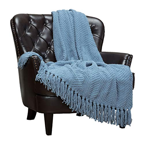 Chanasya Textured Knitted Super Soft Throw Blanket With Tassels Cozy Plush Lightweight Fluffy Woven Blanket for Bed Chair Sofa Couch Cover Living Bed Room Acrylic Throw Blanket (50x65 Inches) Tan Blue