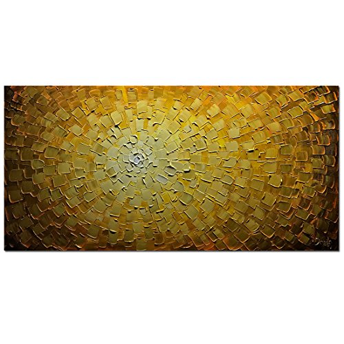 V-inspire Paintings, 24x48 Inch Oil Hand Paintings Modern Framed Art 3D Hand-Painted Abstract Artwork Golden Flowers Pictures on Canvas Wall Art Ready to Hang Living Room Bedroom Home Decorations