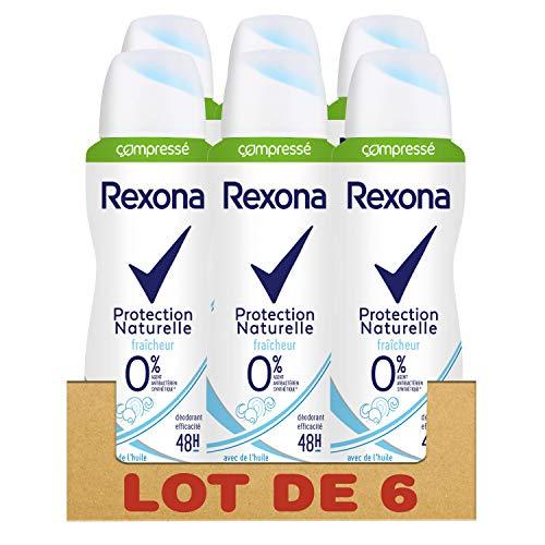 Rexona 0% Déodorant Femme Spray Compressé Protection Naturelle Fraîcheur 48h - Lot de 6 x 100 ml