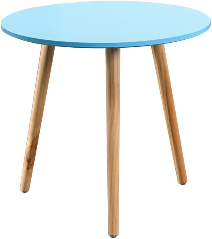 Solid Wood Sofa Side Table, Living Room Coffee Table Bedroom Night Table Telephone Table Storage Rack-bluee 50x46.5cm